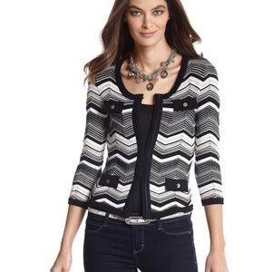 White House Black Market Zigzag  Cardigan Sweater